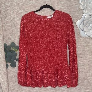 [beach lunch lounge] Smocked Spotted Blouse NWT